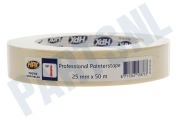 HPX  MA2550 Professional painterstape Cremewit 25mm x 50m Masking Tape, 25mm x 50 meter