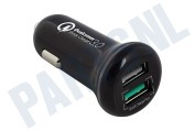 EW1352 2 Poorts USB Autolader 5A met Quick Charge 3.0