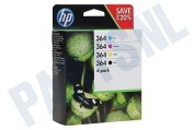 HP Hewlett-Packard 2509174 N9J73AE  Inktcartridge No. 364 Combo 4-pack BK/C/M/Y Photosmart C5380, C6380