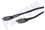 Tulp Kabel 2x RCA Male-2x RCA Female, 10 meter, Verguld