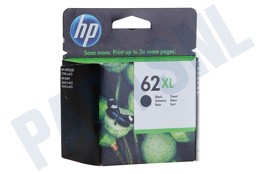 HP Hewlett-Packard  HP 62 XL Black Inktcartridge No. 62 XL Black